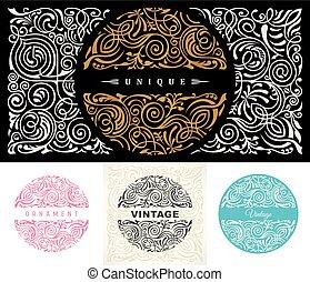 restaurant, emblème, magasin, or, timbre, set., royal, calligraphic, vecteur, café, impression, floral, symbole, rond