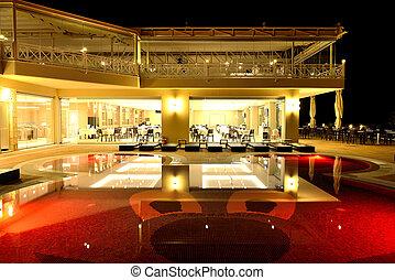 restaurant, halkidiki, grèce, illumination, piscine nuit, natation