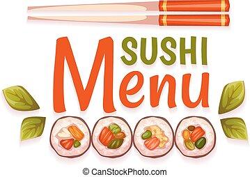 restaurant., illustration, sushi, menu, vecteur