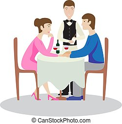 restaurant., romantique, famille, valentines, dîner, dîner.