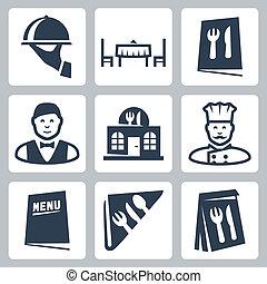 restaurant, vecteur, ensemble, isolé, icônes