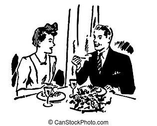 restaurant, vendange, couple, illustration, version, noir, blanc, apprécier, repas