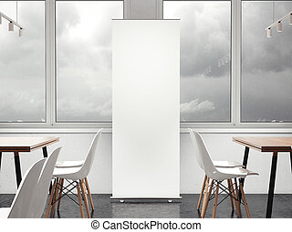 restaurant., vertical, rendre, blanc, bannière, 3d