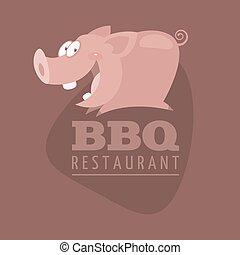 restaurants, emblème, barbecue, cochon
