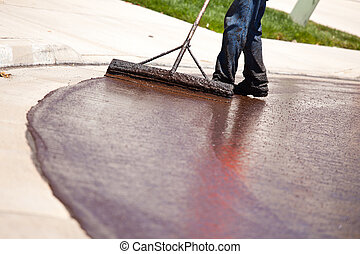 resurfacing, rue, ouvrier, route