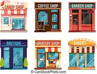 retail., business, vecteur, isoler, arrière-plan., urbain, magasins, blanc, ensemble, illustration