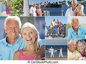 retiré, romantique, montage, coupler vacances, personne agee, heureux