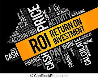 retour, collage, roi, -, nuage, mot, investissement