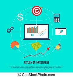 retour, concept affaires, roi, profit, investissement