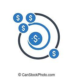 retour, glyph, icône, vecteur, investissement