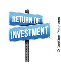 retour, investissement, signe