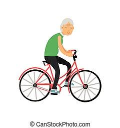 retraité, femme, gens, vélo, loisir, vecteur, illustration, activité, équitation, personne agee