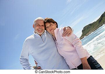 retraite, vieux, couple, leur, apprécier, plage