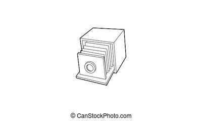 retro, appareil photo, icône, animation