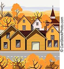 retro, bâtiments, ville, jaune, vieux