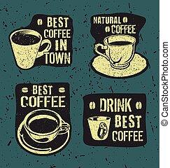 retro, café, vendange, étiquettes