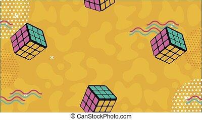 retro, cubes, style, memphis, rubik, fond