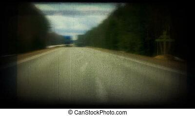 retro, dépassement, highway., appelé