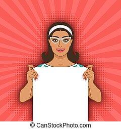 retro, femme souriant, vide, affiche