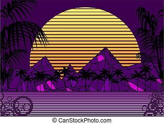 retro, fond, néon, coucher soleil, 80s