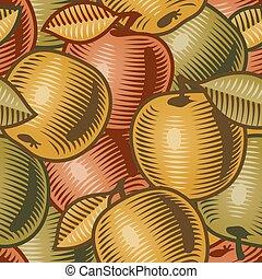 retro, fond, pomme