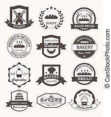 retro, logos, boulangerie, étiquettes, insignes