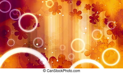 retro, orange, boucle, fleurs, 60