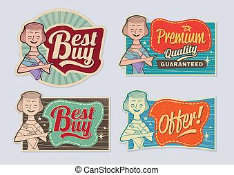 retro, vendange, publicité, étiquettes