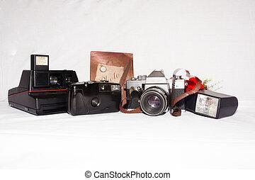 retro, vieux, album, cameras, photo