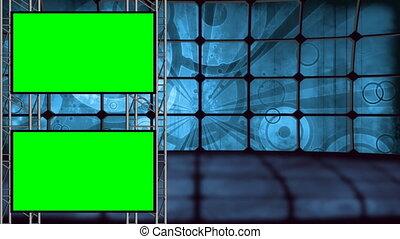 retro, virtuel, ensemble, vert, écran