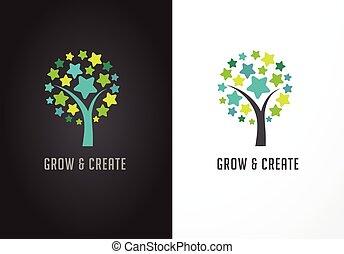 reussite, arbre, -, education, étoiles, apprentissage, icône