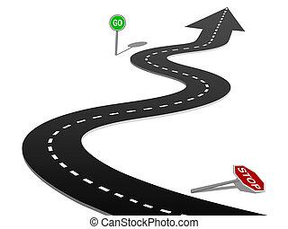 reussite, courbe, stop, aller, progrès, autoroute