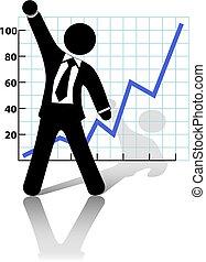 reussite, croissance affaires, augmentations, poing, homme affaires, célébrer