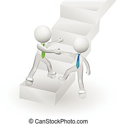 reussite, gens, escalade, logo, escalier, 3d