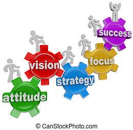 reussite, gens, monter, vision, stratégie, engrenages, réaliser