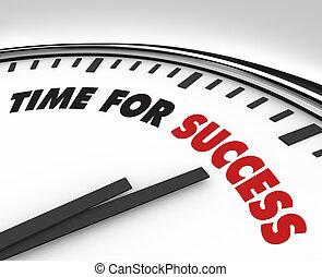 reussite, horloge, -, buts, temps, accomplissement