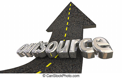 reussite, métier, indépendant, ouvrier, dehors, illustration, haut, outsource, flèche, route, 3d