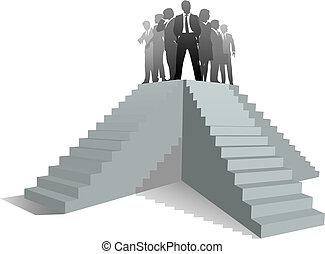 reussite, professionnels, haut, équipe, escalier, éditorial
