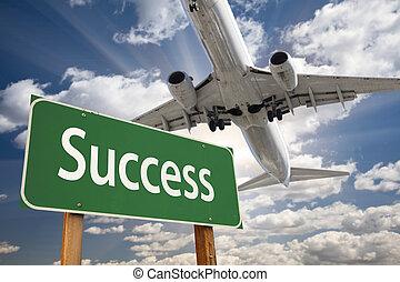 reussite, signe, vert, au-dessus, avion, route