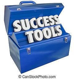 reussite, techniques, buts, boîte outils, outils, accomplir