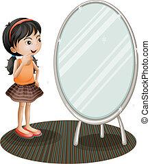 revêtement, girl, miroir