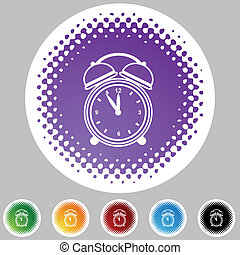 reveil, ensemble, horloge, icône, halftone
