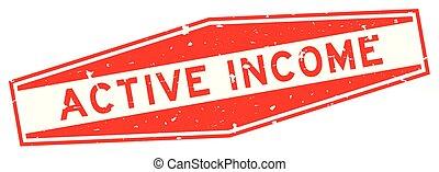 revenu, arrière-plan rouge, timbre, mot, cachet, blanc, grunge, actif, hexagone, caoutchouc