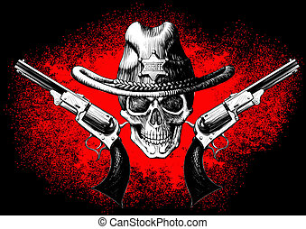 revolver, crâne