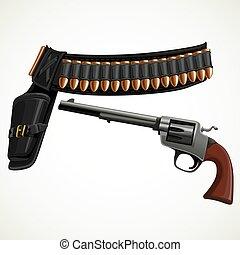 revolver, munitions, étui, ceinture