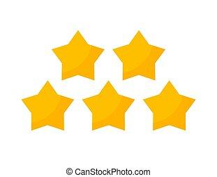revue, étoiles, icon., jaune, cinq, étoile, vecteur, 5, classement, isolé, or