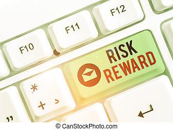 reward., conceptuel, projection, texte, signe, potentiel, relatif, risque, évaluer, photo, sien, commercer, profit, loss.
