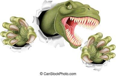 rex, déchirure, t, griffes, dinosaure