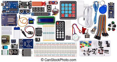 rfid, câble, électronique, isolé, microcontroller, ensemble, équipement, lcd, fil, commutateurs, bouton, accessoires, capteur, planche, parties, fond, exposer, module, collection, concept, blanc