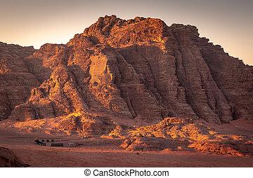 rhum, bédouin, jordanie, désert, oued, camps